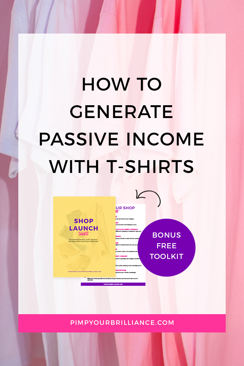 image which reads how to generate passive income with t-shirts